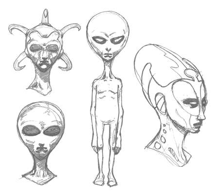 ufology: Set of alien portraits.