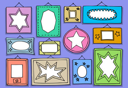 Set of hand drawn picture frames on wall. Vector