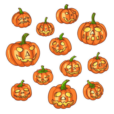 glowing carved: Set of halloween pumpkins. Jack o lantern collection. Vector illustration.
