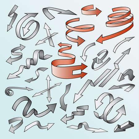 flechas curvas: Conjunto de flechas vector. , Largas curvas, direcciones cortas, opuestos Colección de las señales. Colorido.