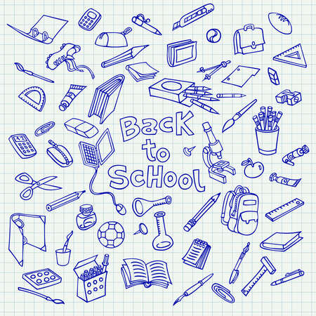 Back to school. Doodle on lined sketchbook paper background. Illustration