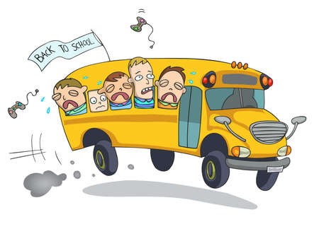 Sad kids, crying, going back to school on a bus. Cartoon. Illustration vector.