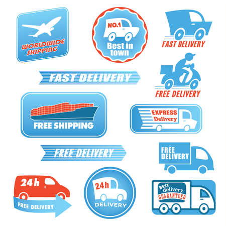 Set of delivery labels. Vector