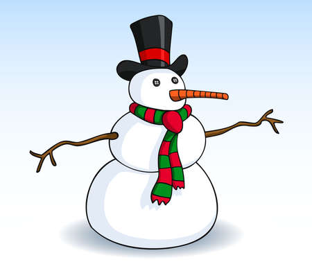Snowman with black top hat, button eyes, carrot nose, scarf, and branch arms. Vector illustration.