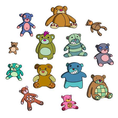 Set of teddy bears. Vector illustration. Vector