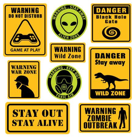 Set of unusual warning signs.
