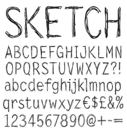 Handwritten font. 일러스트