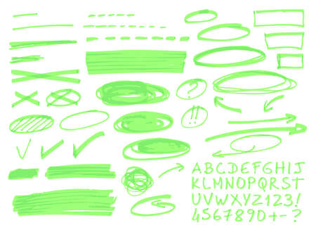 Hand drawn highlighter elements. Vector