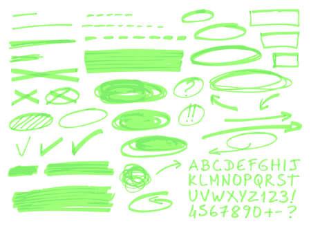 Hand getrokken highlighter elementen.