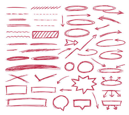 Set of hand drawn text correction elements. Vector