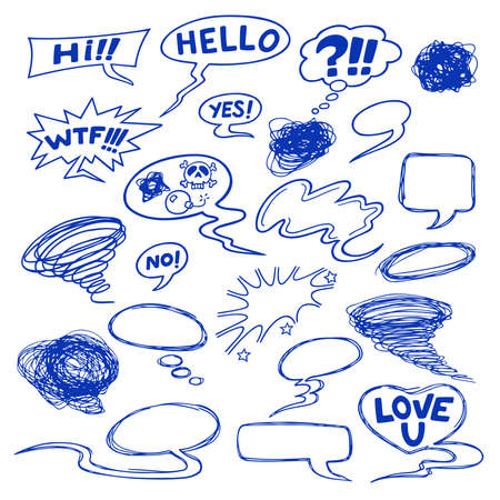 hello heart: Set of comic speech bubbles, shapes and icons. Vector illustration of cartoon style elements.