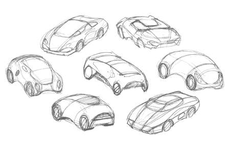 Set of car design. Pencil drawing sketch. Vector illustration. Illustration