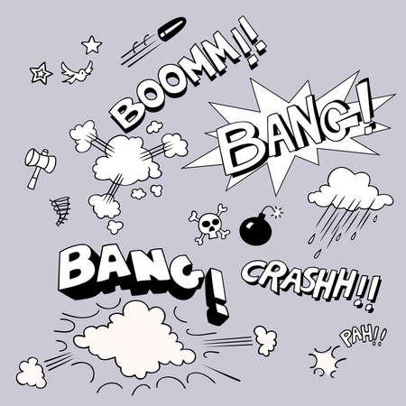 swear: Set of comic style sound symbols. Vector illustration.
