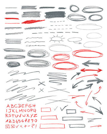 text: Set of hand drawn correction elements. Pencil technique. Illustration