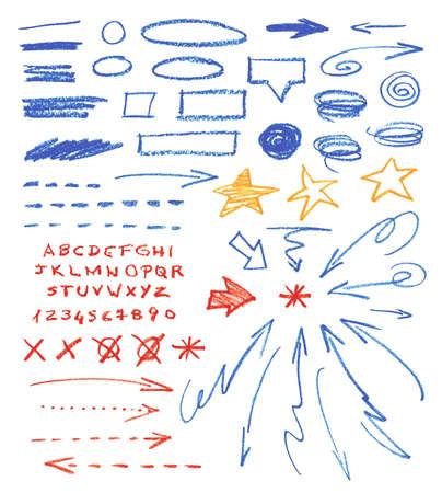 Set of hand drawn correction elements.