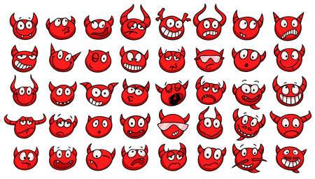 satanas: Conjunto de caras divertidas diablo. Colecci�n de mano dibuja emoticonos con diversas expresiones faciales. Ilustraci�n del vector.