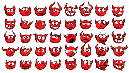 demonic: Set of funny devil faces. Collection of hand drawn emoticons with various facial expressions. Vector illustration.