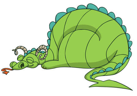 Happy green dragon sleeping. Isolated on white background. Cartoon. Vector illustration. Vector