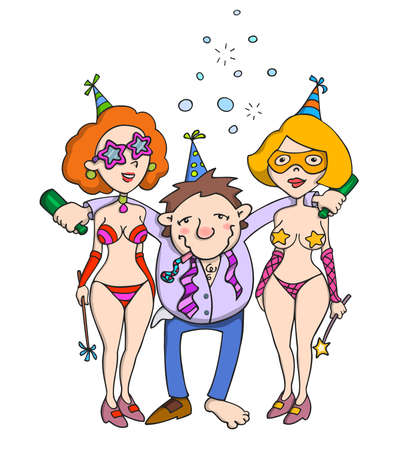 prostitution: Happy drunk man in company of two sexy girls. Party. Illustration