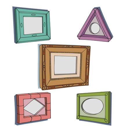 triangular shape: Set of hand drawn picture frames.