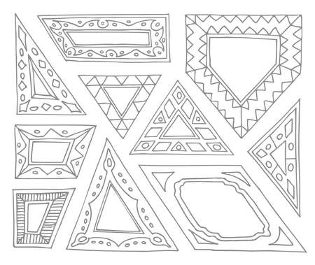 quadrilateral: Set of hand drawn picture frames. Triangular, parallelogram, quadrilateral, pentagon. Unusual border shapes. Black and white. Isolated on white background.