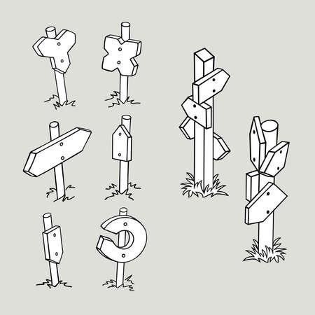 flechas curvas: Dibujado a mano pequeñas señales de tráfico en blanco. Colección flechas Strange. Ilustración del vector.