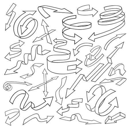 flechas curvas: Conjunto de flechas. , Largas y curvadas, direcciones opuestas cortos. Aislado en el fondo blanco.