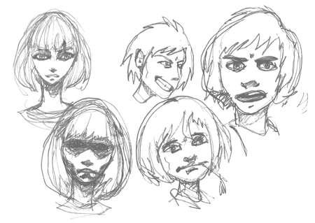 grafito: Dibujo Manga. Conjunto de los niños y las niñas se enfrenta dibujo a lápiz estilo anime. Aislado en el fondo blanco. Ilustración del vector.