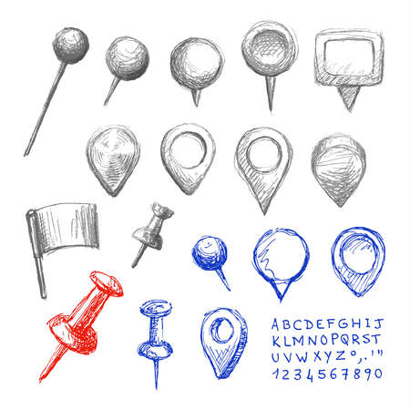 Set of hand drawn map pointers. Navigation pin icons, letters and numbers. Drawing sketch collection. Pencil and pen technique.