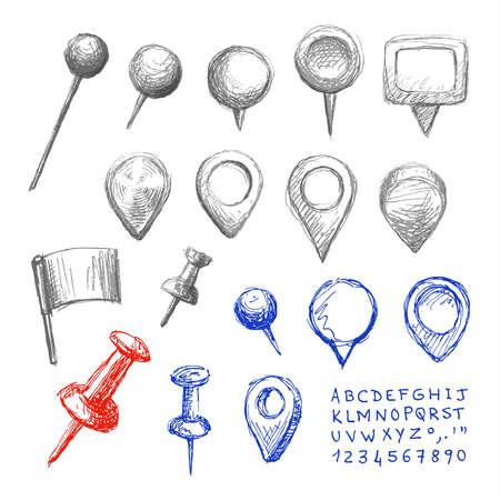 rotulador: Conjunto de dibujado a mano punteros de la correspondencia. Navegación iconos pines, letras y números. Dibujo colección boceto. Lápiz y técnica de pluma.