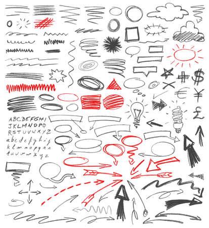 Conjunto de signos gráficos dibujados a mano. Técnica de lápiz.