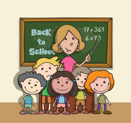 Back to school. Happy children at school classroom with teacher. Cartoon.