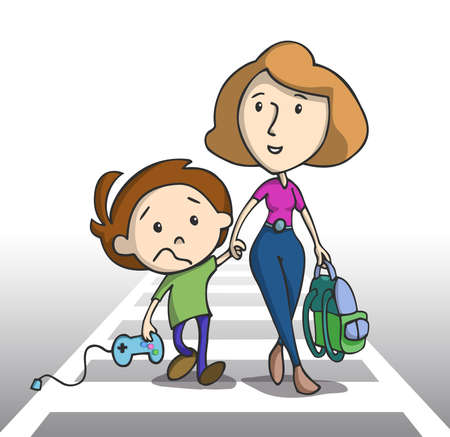 Sad little boy going to school holding a game controller. Mother and son crossing the pedestrian, Vector illustration. Vector
