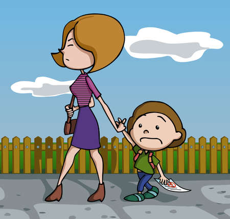 test paper: Mother furious at her son for his test fail. Vector illustration. Cartoon.