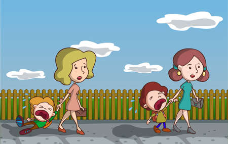 mommy: Kids crying going to school. Vector illustration. Cartoon. Illustration