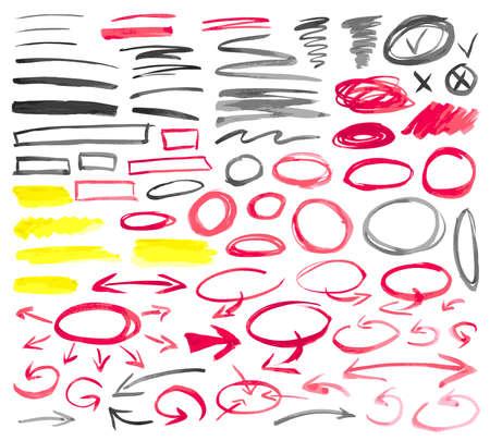Conjunto de signos gráficos dibujados a mano. Técnica de la pintura de la acuarela.
