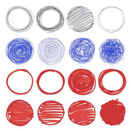 rotulador: Conjunto de círculos dibujados a mano. Vectores