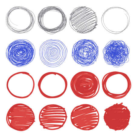 Set of hand drawn circles. Vector