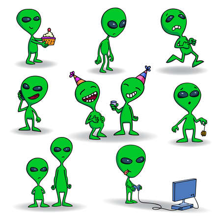 Set of cute green alien creatures. Illustration