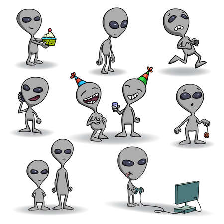 et: Set of cute grey alien creatures.