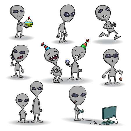 alien cool: Set of cute grey alien creatures.