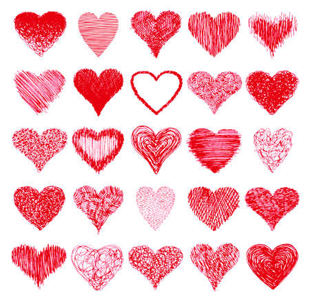 dessin coeur: Ensemble de coeurs dessin�s � la main. Illustration