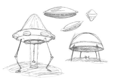 ufology: Set di Ovnis. Disegno a matita schizzo. Illustrazione vettoriale. Vettoriali