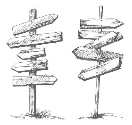 Dibujado a mano las señales de tráfico de madera. Vectores