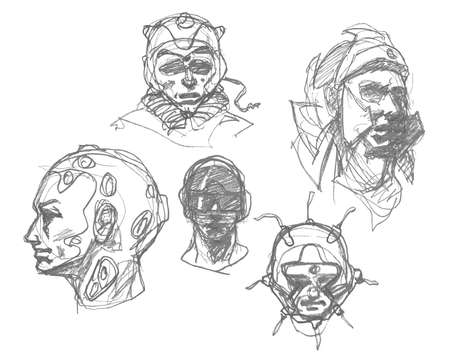 expressive style: Set of spaceman portraits. Pencil drawing sketch. Hand drawn. Vector illustration.