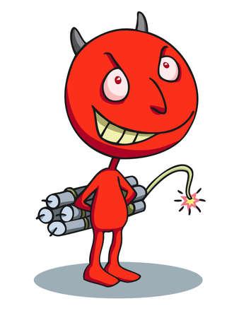 terrorist: Devil terrorist carrying a dynamite bomb.