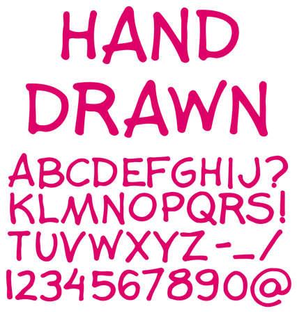 Hand drawn alphabet. Handwritten font. Vector illustration. illustration
