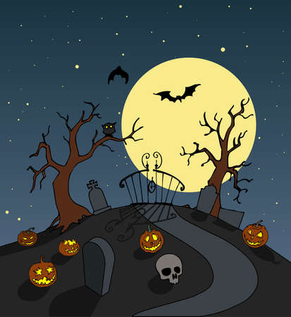 scenario: Halloween cemetery entrance background. Spooky full moon night scenario. Vector illustration. Stock Photo