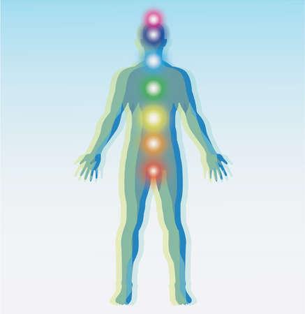 Human chakra points map. Vector illustration. Фото со стока