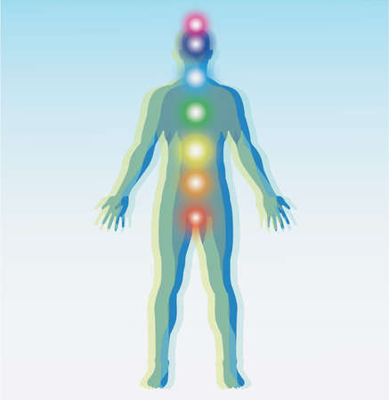 sexual chakra: Human chakra points map. Vector illustration. Stock Photo